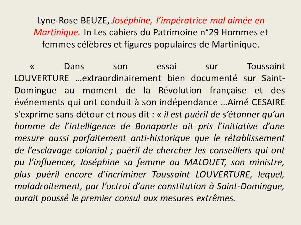 Lyne-Rose BEUZE, Joséphine, l'impératrice mal aimée en Martinique