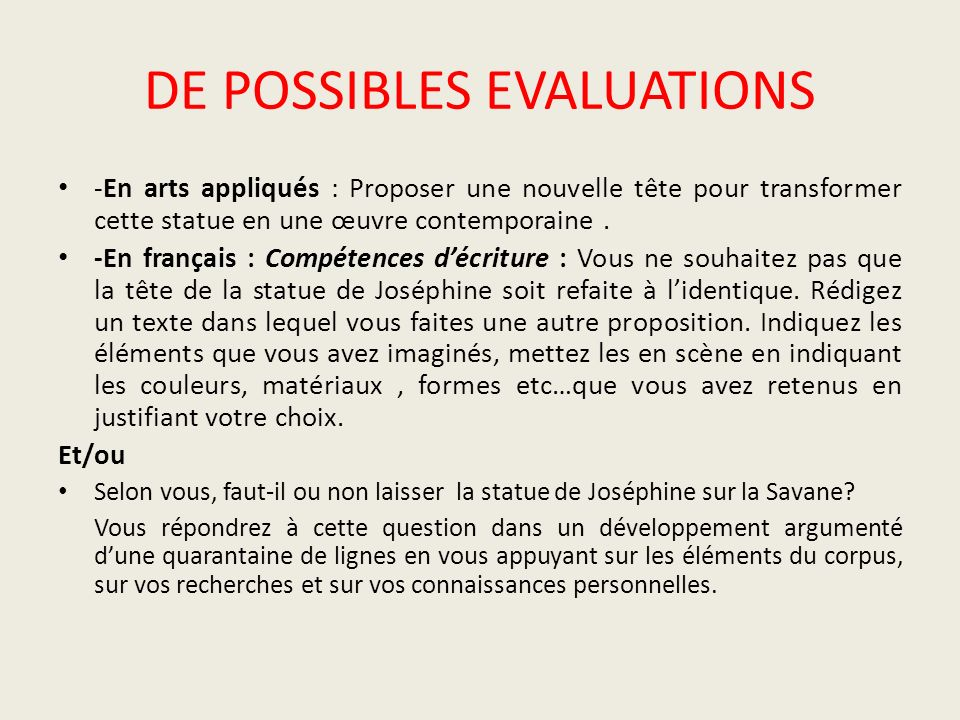 DE POSSIBLES EVALUATIONS