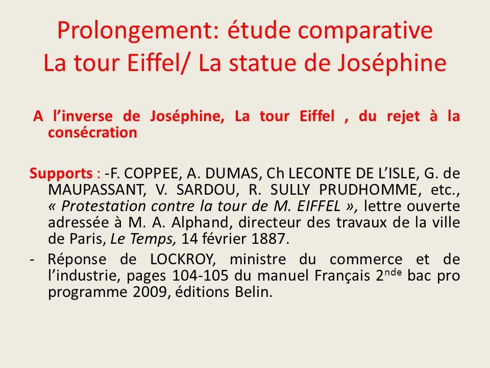 Prolongement: étude comparative La tour Eiffel/ La statue de Joséphine
