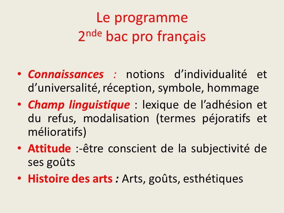 Le programme 2nde bac pro français