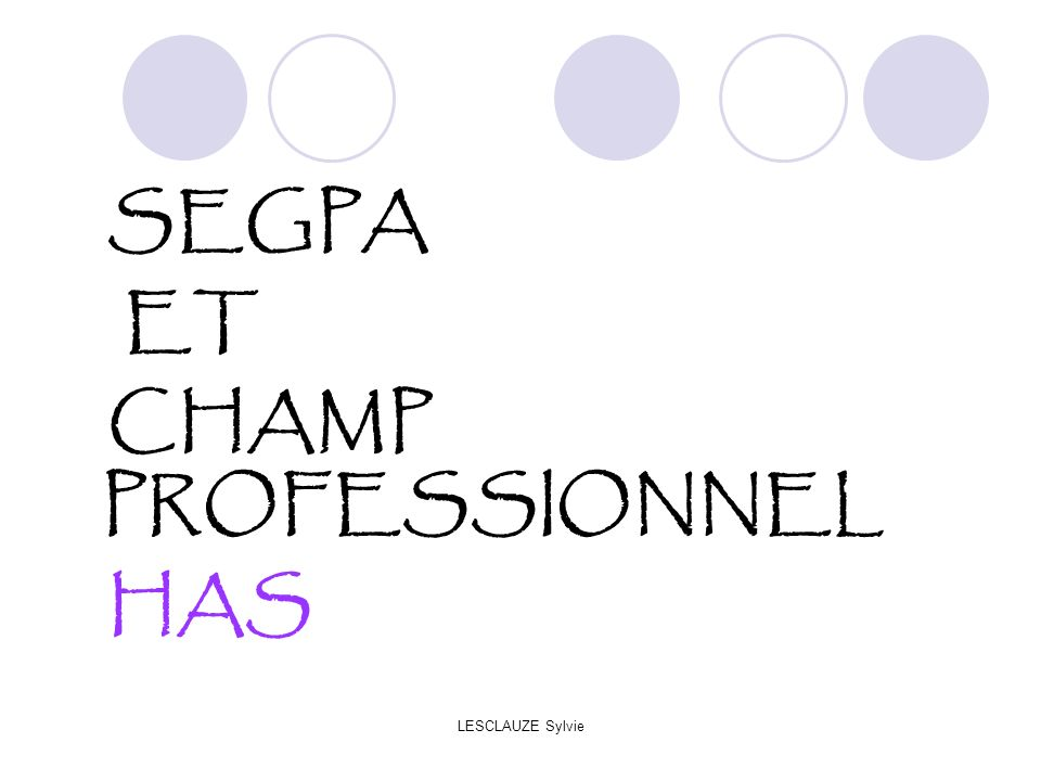 SEGPA ET CHAMP PROFESSIONNEL HAS LESCLAUZE Sylvie