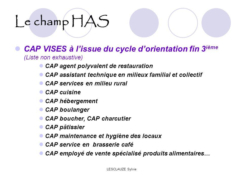 Le champ HAS CAP VISES à l'issue du cycle d'orientation fin 3ième (Liste non exhaustive) CAP agent polyvalent de restauration.
