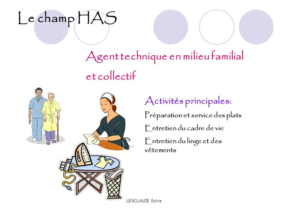 Le champ HAS Agent technique en milieu familial et collectif