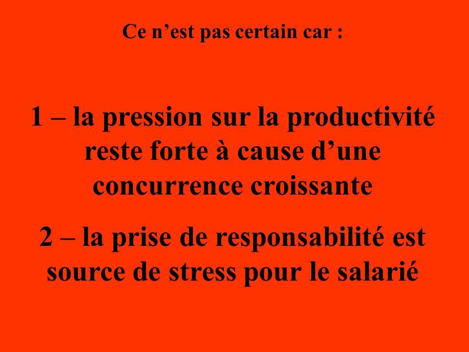 2 – la prise de responsabilité est source de stress pour le salarié