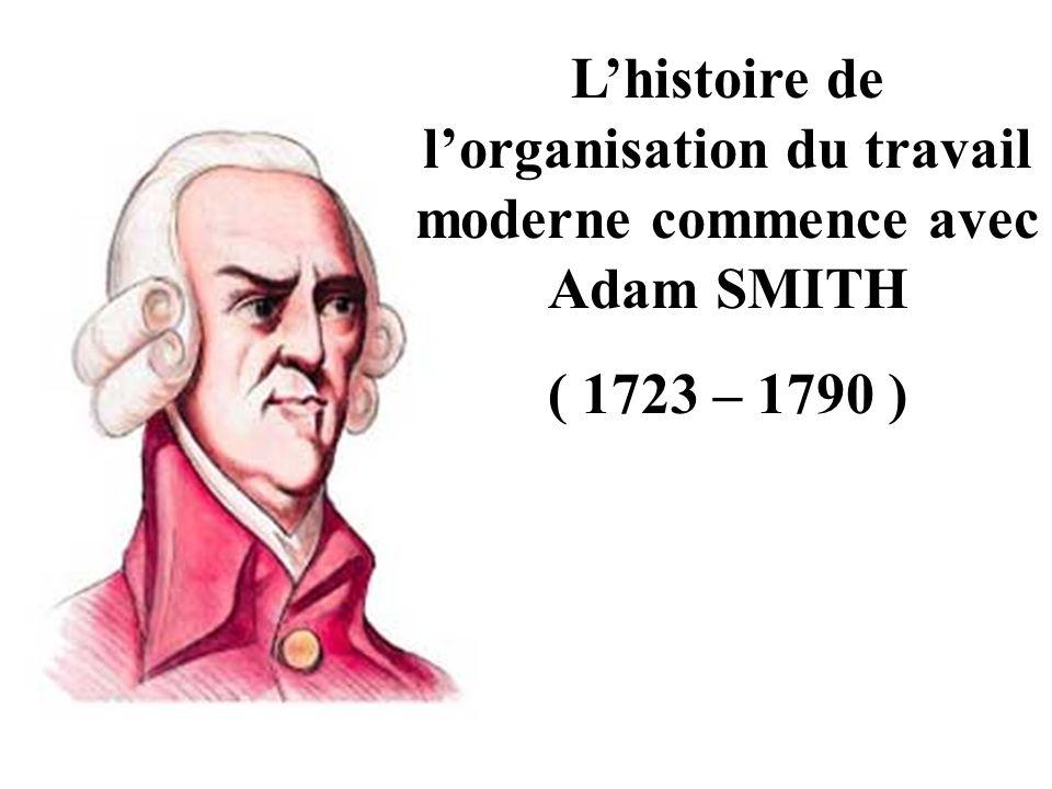 L'histoire de l'organisation du travail moderne commence avec Adam SMITH