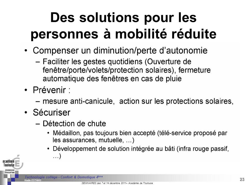 Des solutions pour les personnes à mobilité réduite