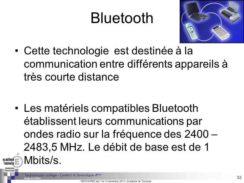 Bluetooth Cette technologie est destinée à la communication entre différents appareils à très courte distance.