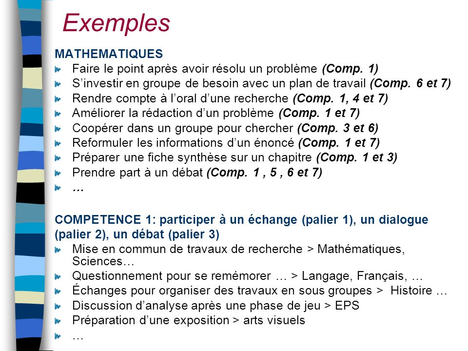 Exemples MATHEMATIQUES