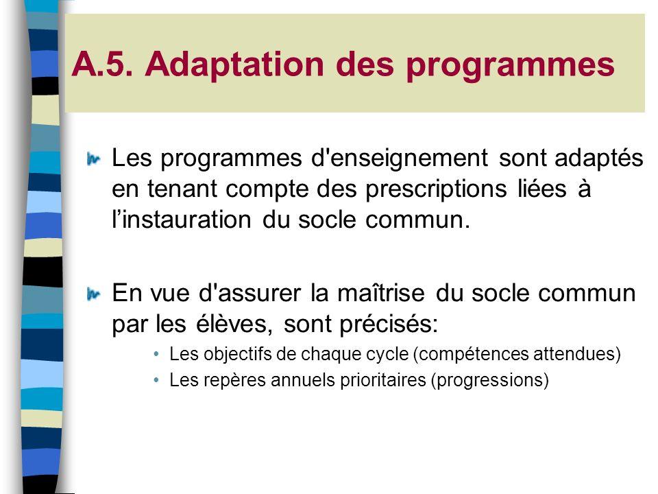 A.5. Adaptation des programmes