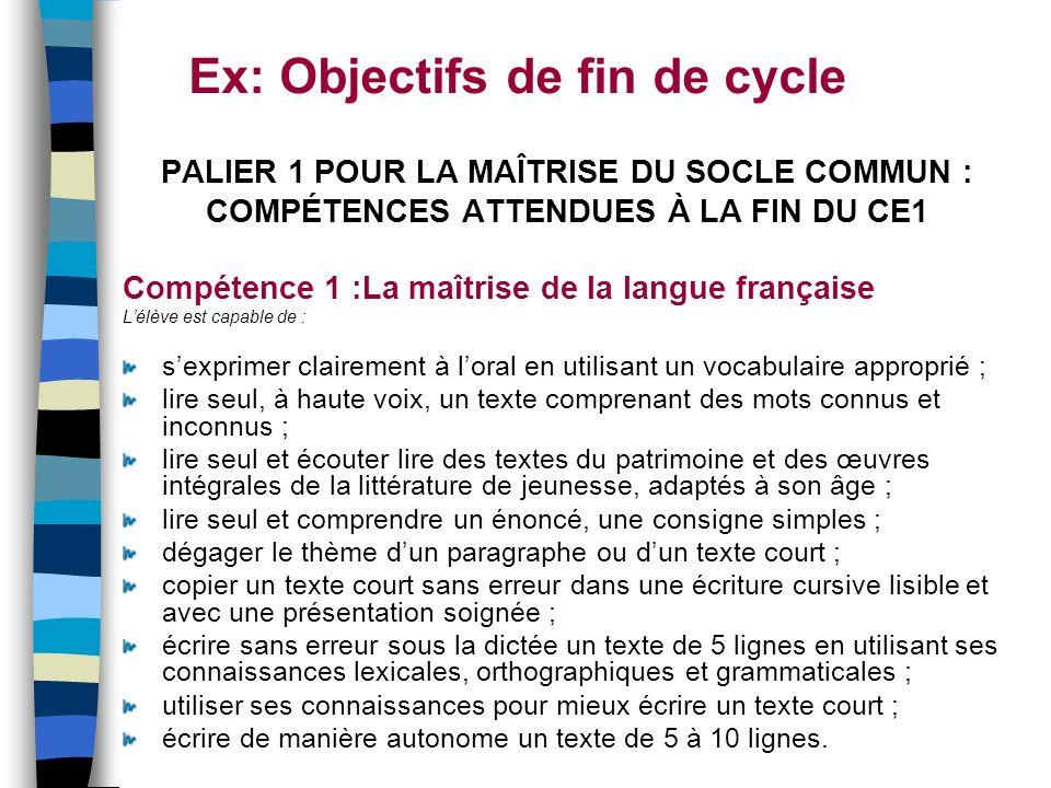 Ex: Objectifs de fin de cycle