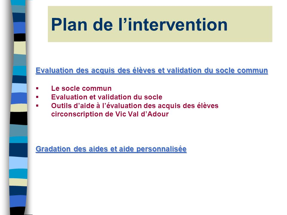 Plan de l'intervention
