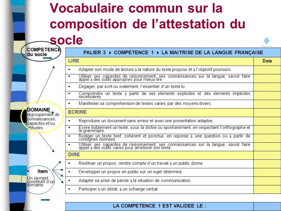 Vocabulaire commun sur la composition de l'attestation du socle 