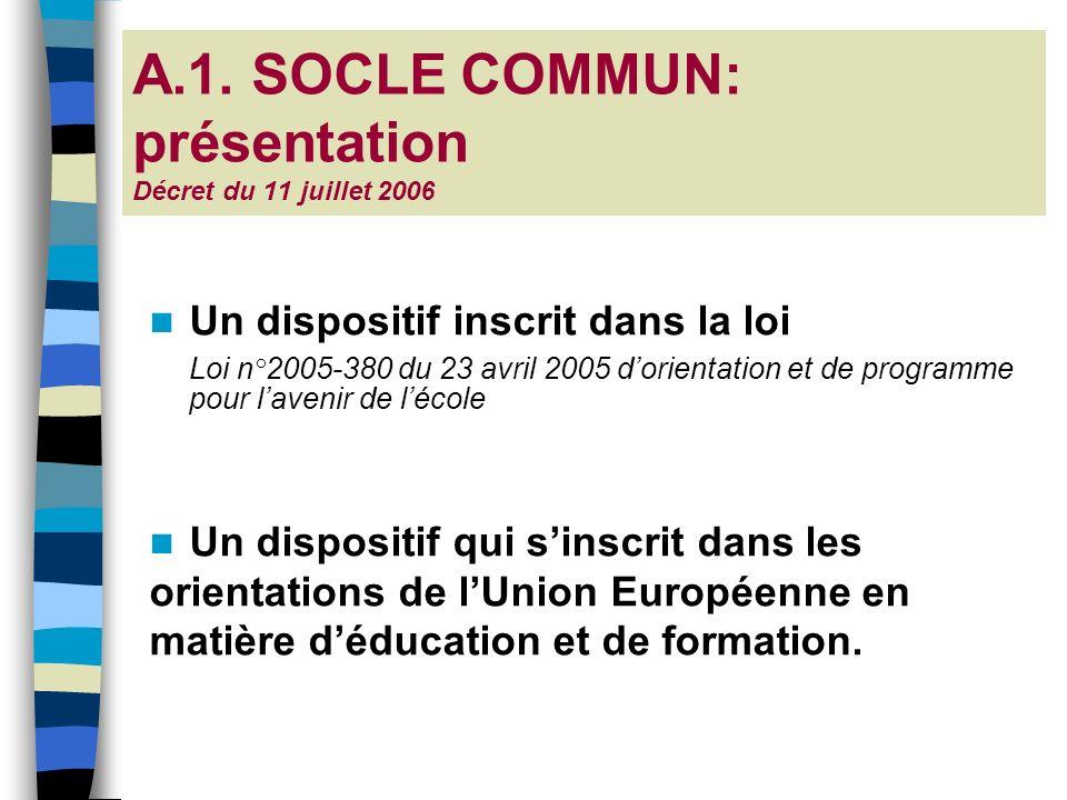 A.1. SOCLE COMMUN: présentation Décret du 11 juillet 2006