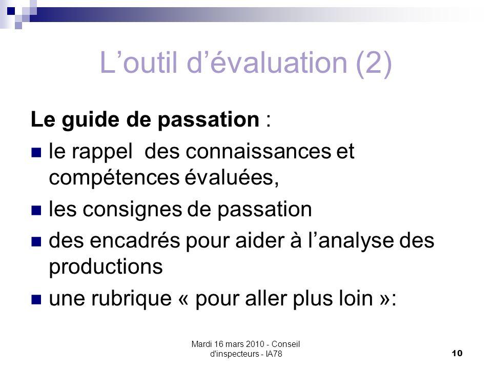 L'outil d'évaluation (2)