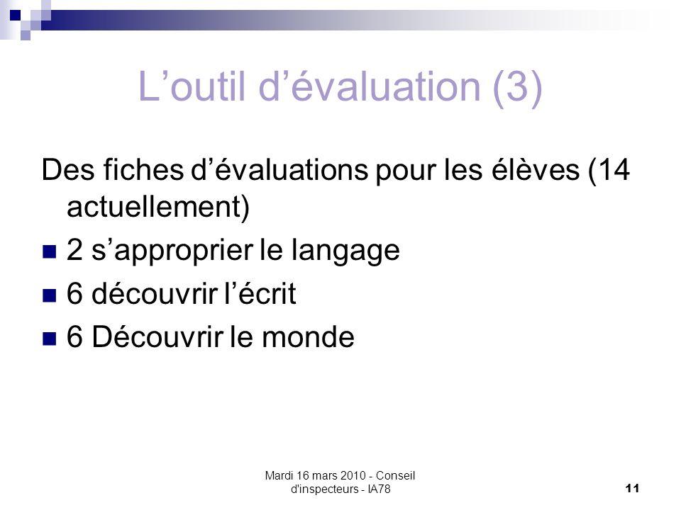 L'outil d'évaluation (3)