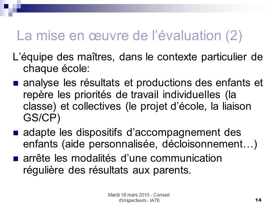 La mise en œuvre de l'évaluation (2)