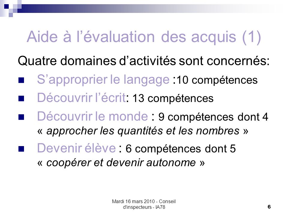 Aide à l'évaluation des acquis (1)