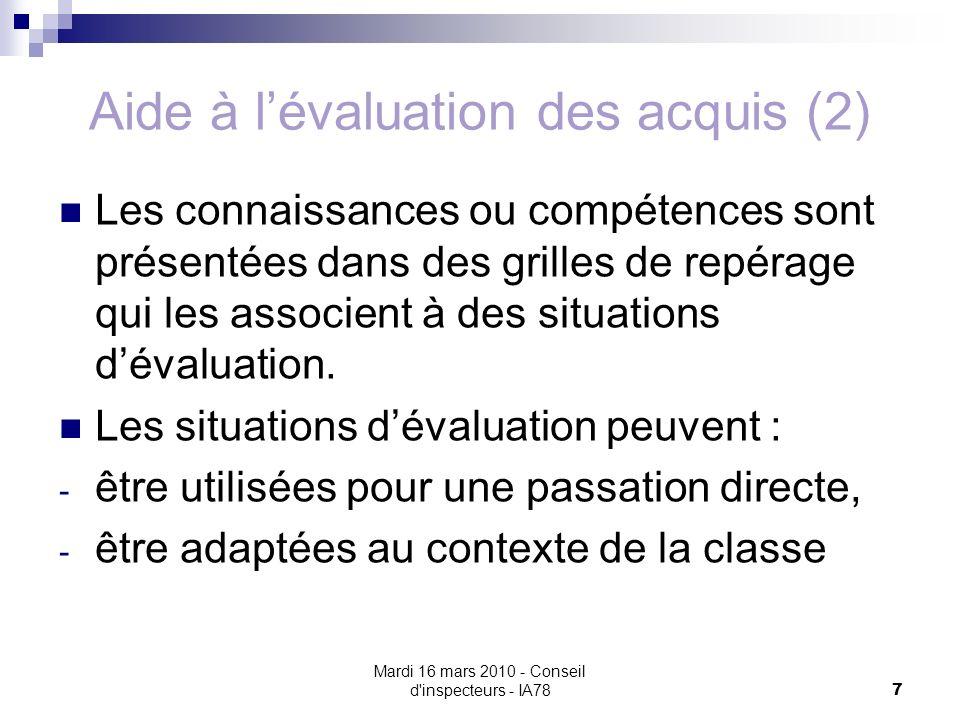 Aide à l'évaluation des acquis (2)