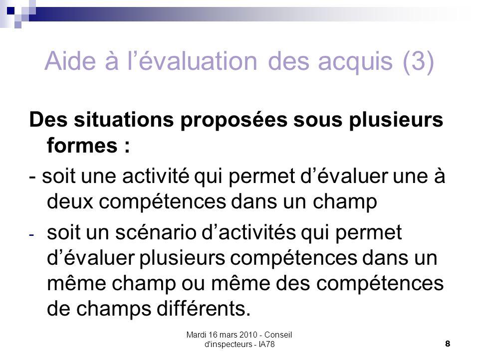 Aide à l'évaluation des acquis (3)