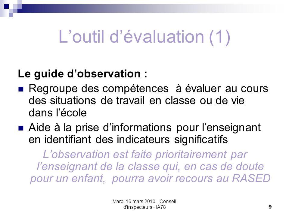 L'outil d'évaluation (1)