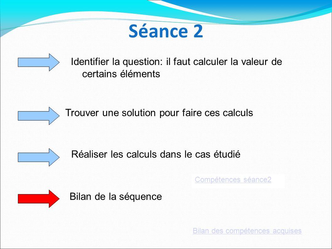 Séance 2Identifier la question: il faut calculer la valeur de certains éléments. Trouver une solution pour faire ces calculs.