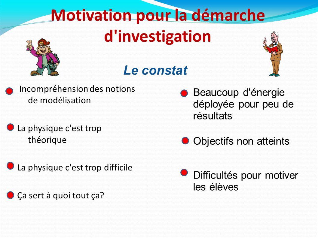 Motivation pour la démarche d investigation