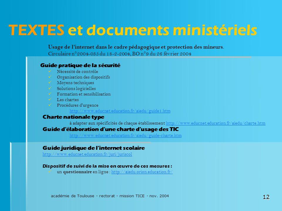 TEXTES et documents ministériels