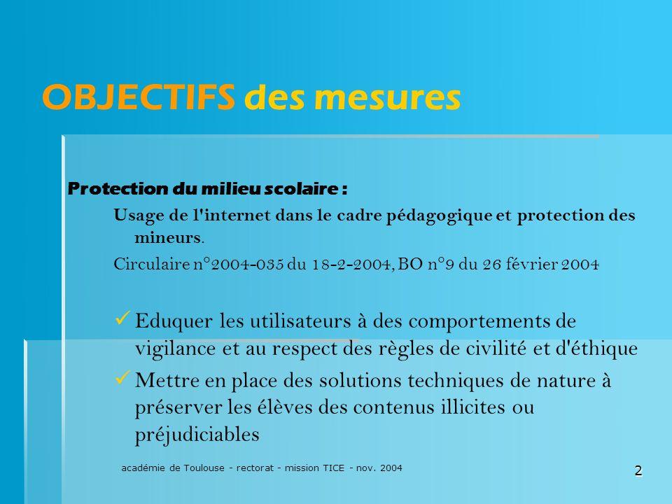 académie de Toulouse - rectorat - mission TICE - nov. 2004
