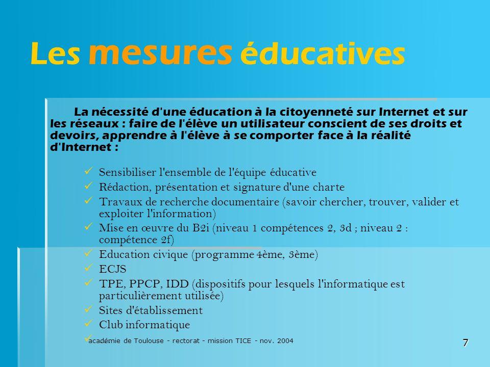 Les mesures éducatives