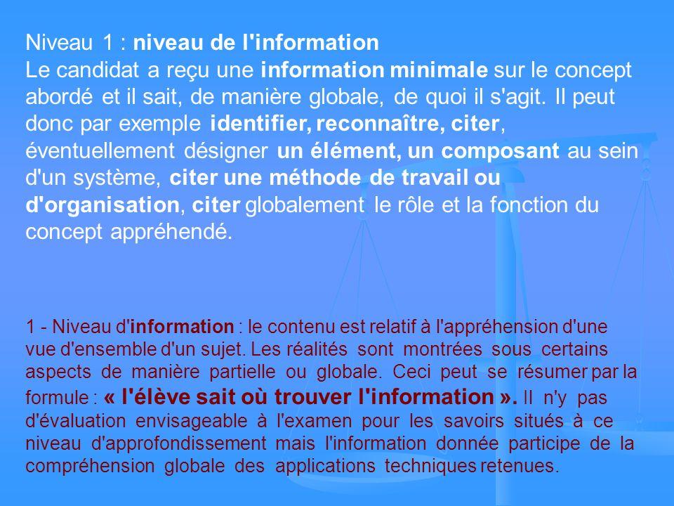 Niveau 1 : niveau de l information