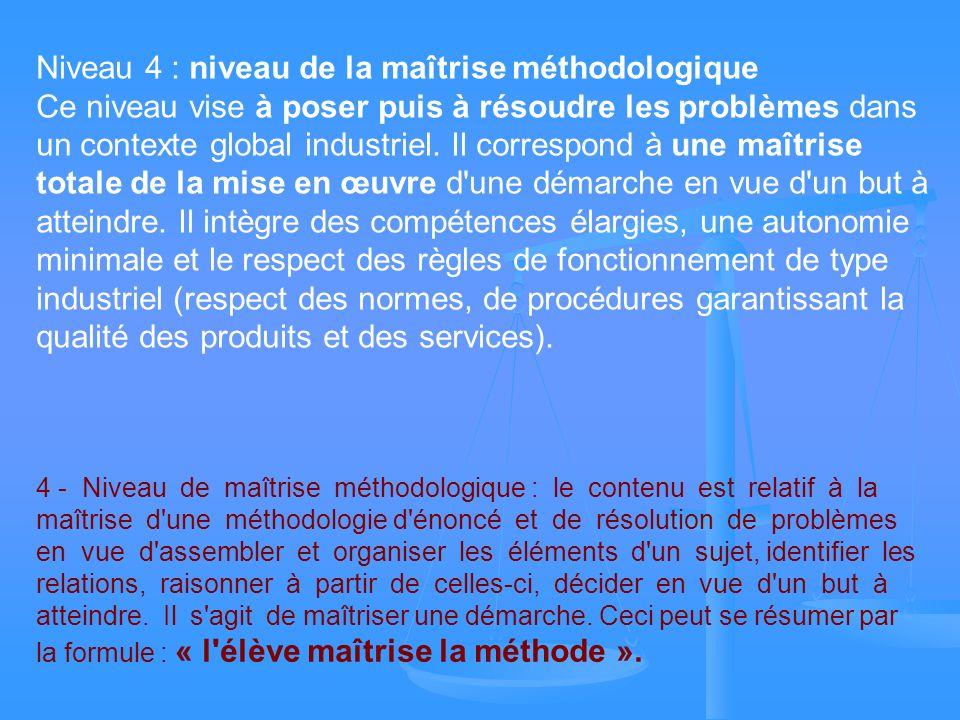 Niveau 4 : niveau de la maîtrise méthodologique