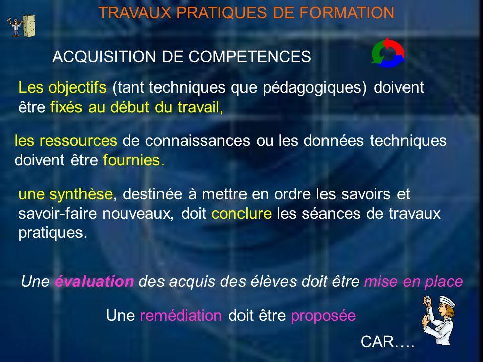TRAVAUX PRATIQUES DE FORMATION