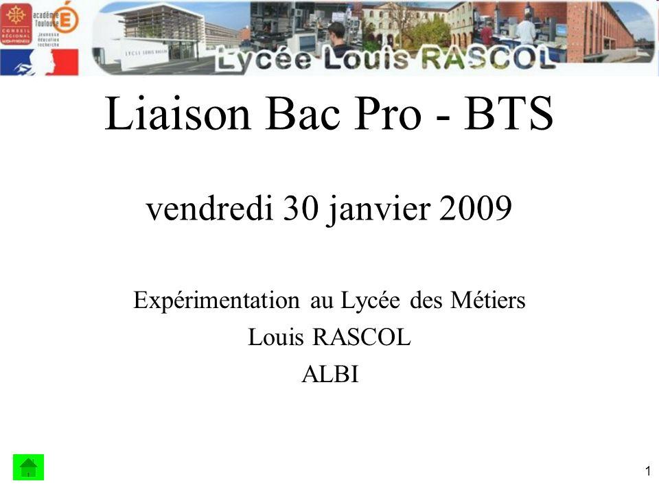 Liaison Bac Pro - BTS vendredi 30 janvier 2009
