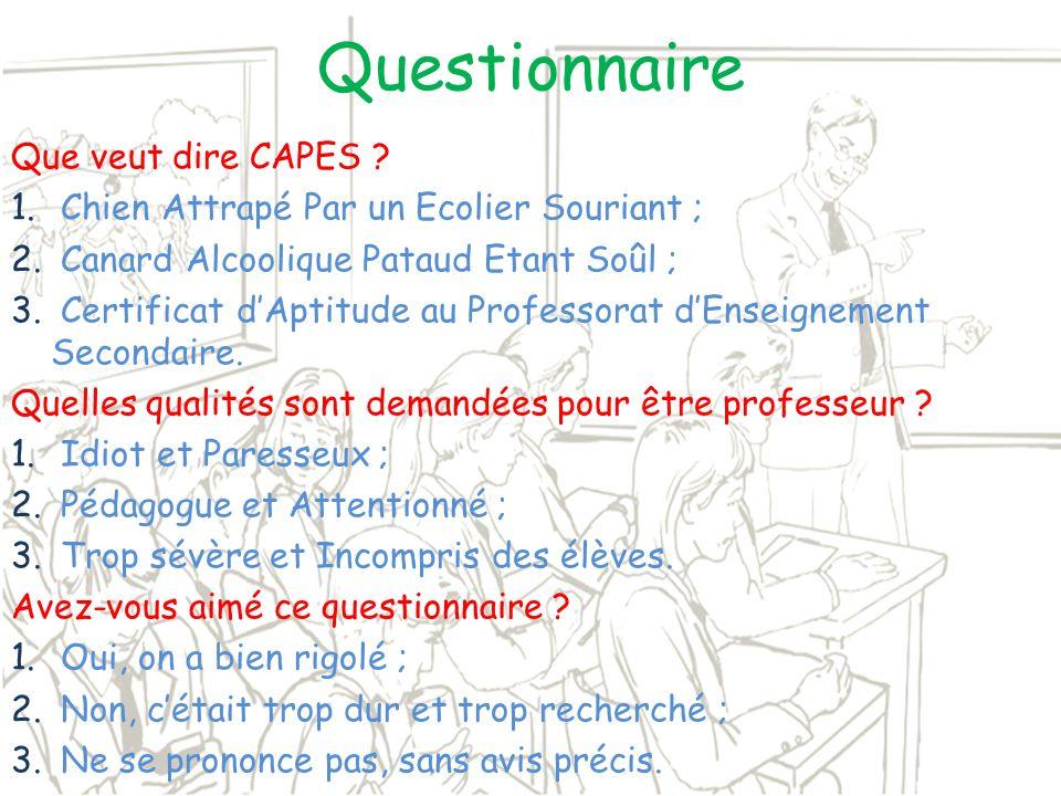 Questionnaire Que veut dire CAPES