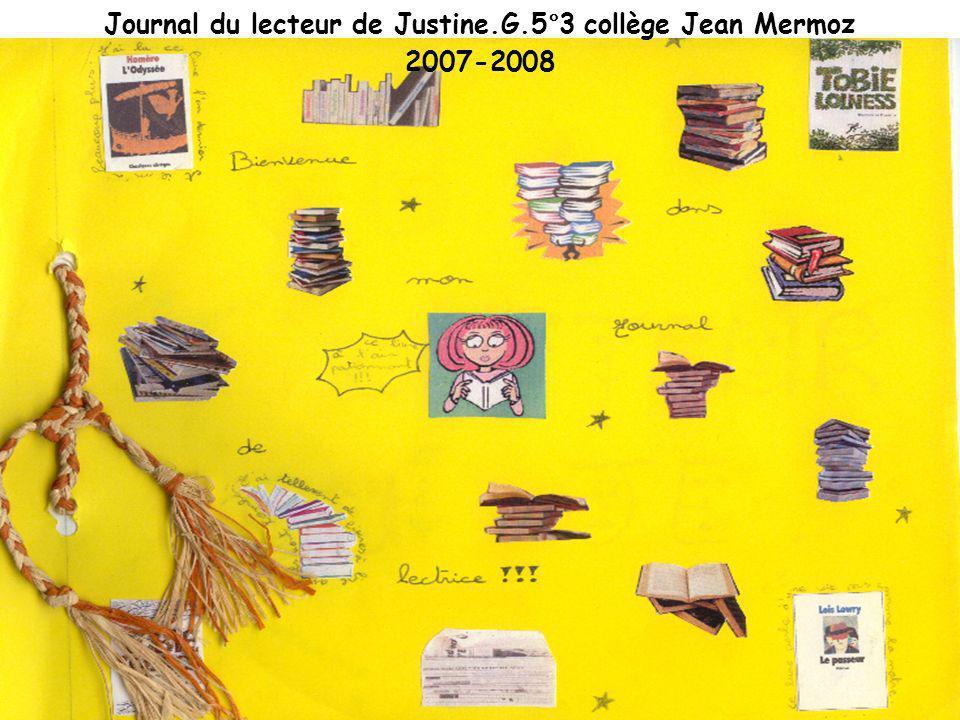 Journal du lecteur de Justine.G.5°3 collège Jean Mermoz