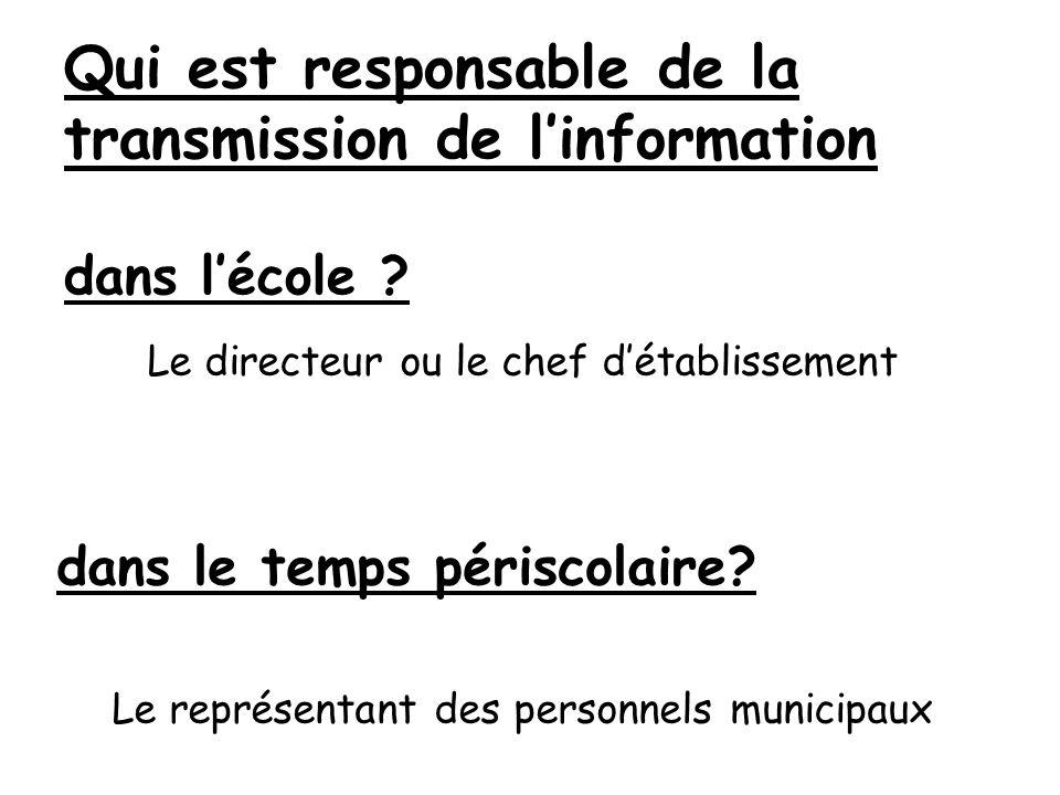 Qui est responsable de la transmission de l'information dans l'école
