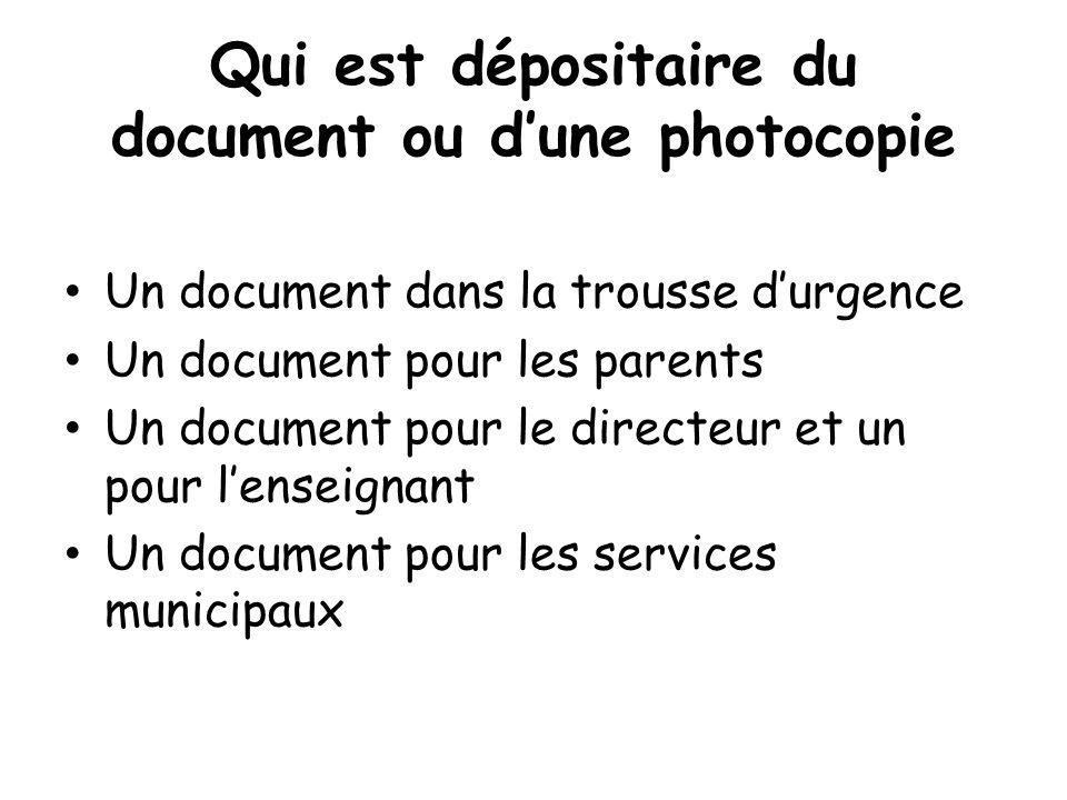 Qui est dépositaire du document ou d'une photocopie