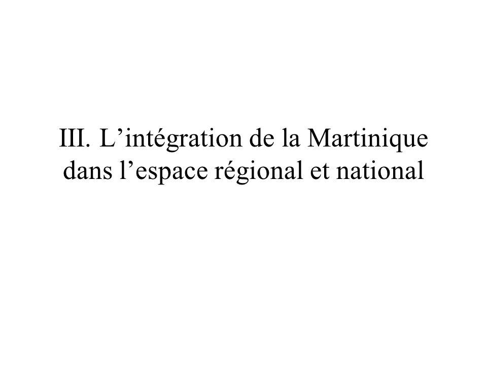 III. L'intégration de la Martinique dans l'espace régional et national