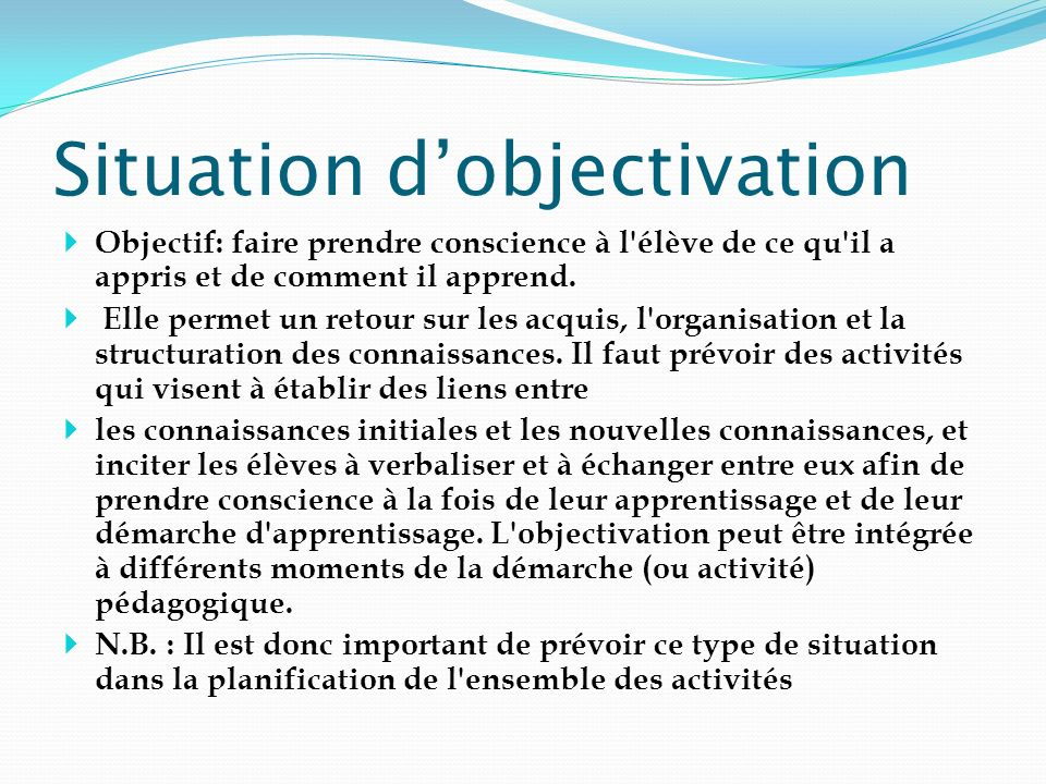 Situation d'objectivation