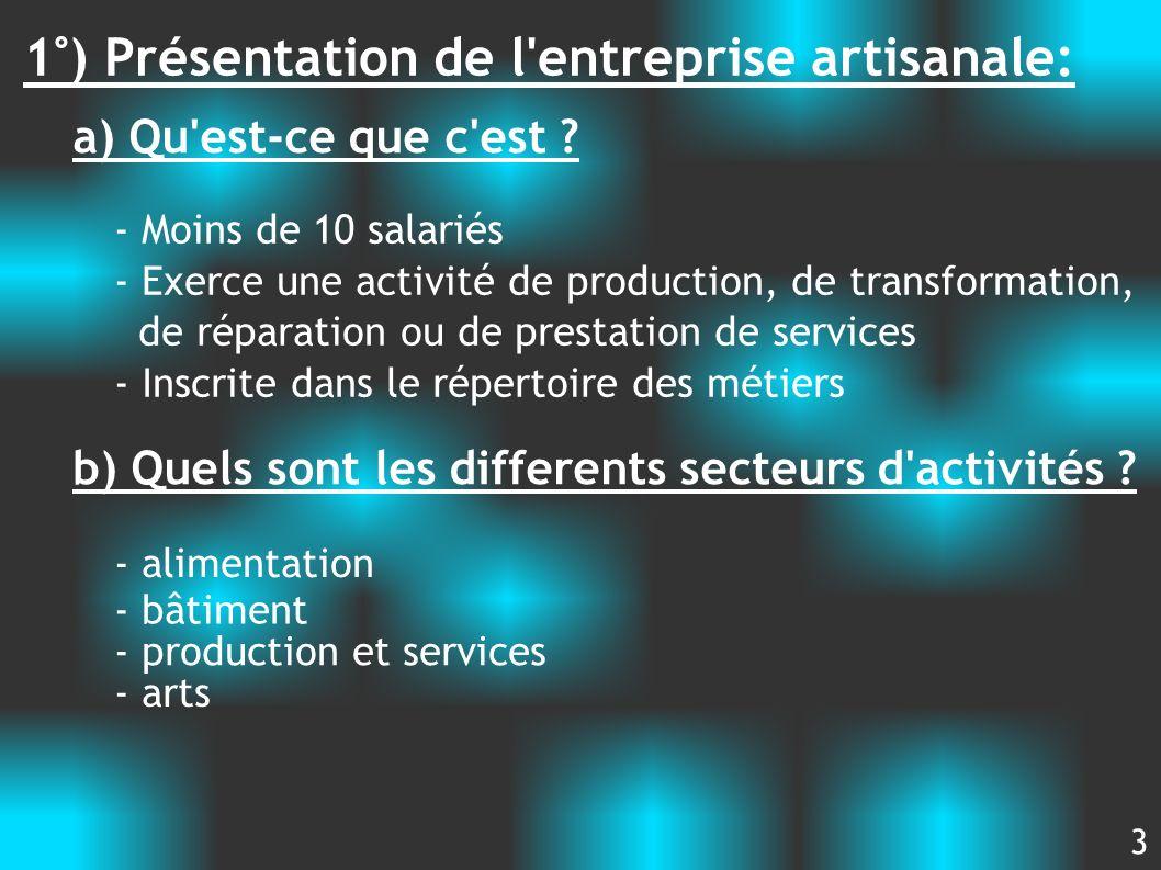 1°) Présentation de l entreprise artisanale: