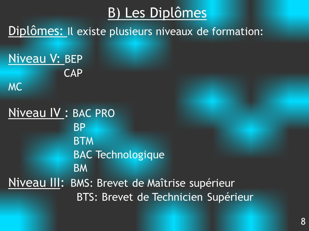 B) Les Diplômes Diplômes: Il existe plusieurs niveaux de formation: