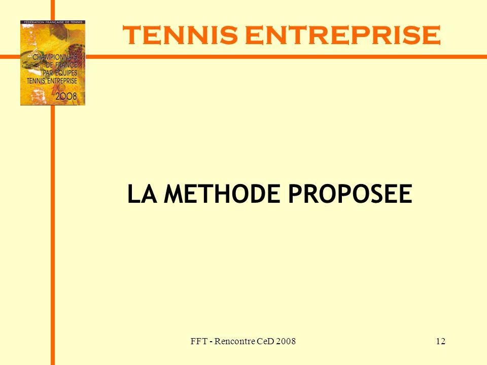 TENNIS ENTREPRISE LA METHODE PROPOSEE FFT - Rencontre CeD 2008