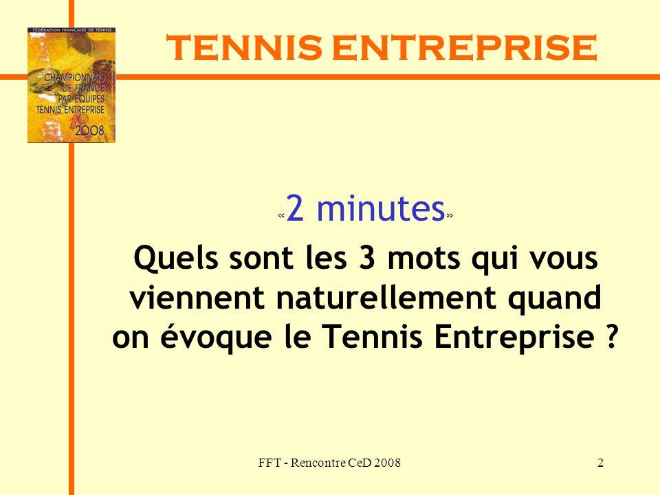 TENNIS ENTREPRISE «2 minutes» Quels sont les 3 mots qui vous viennent naturellement quand on évoque le Tennis Entreprise