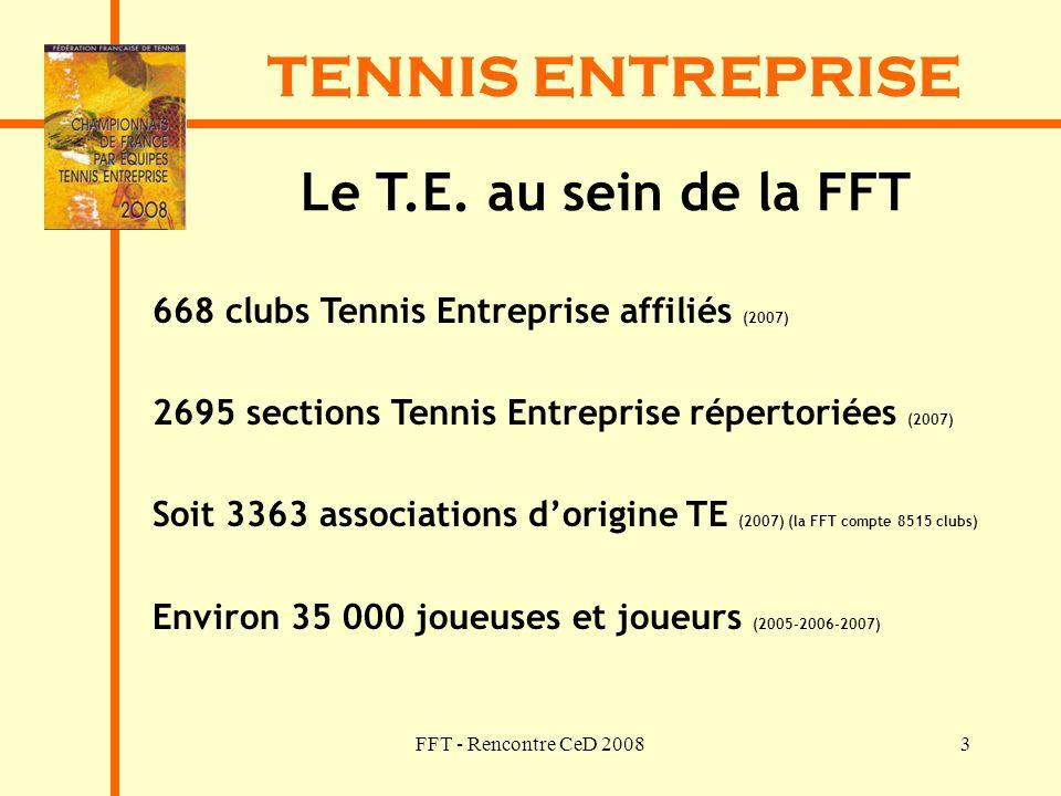 TENNIS ENTREPRISE Le T.E. au sein de la FFT