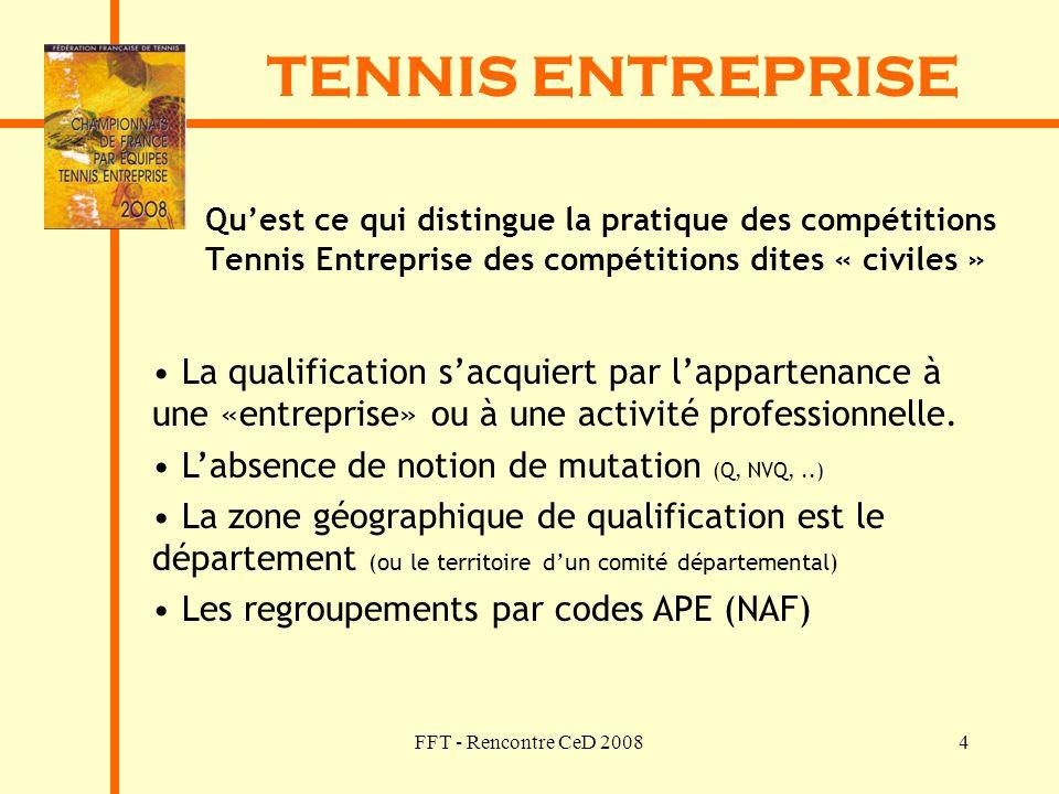 TENNIS ENTREPRISE Qu'est ce qui distingue la pratique des compétitions Tennis Entreprise des compétitions dites « civiles »
