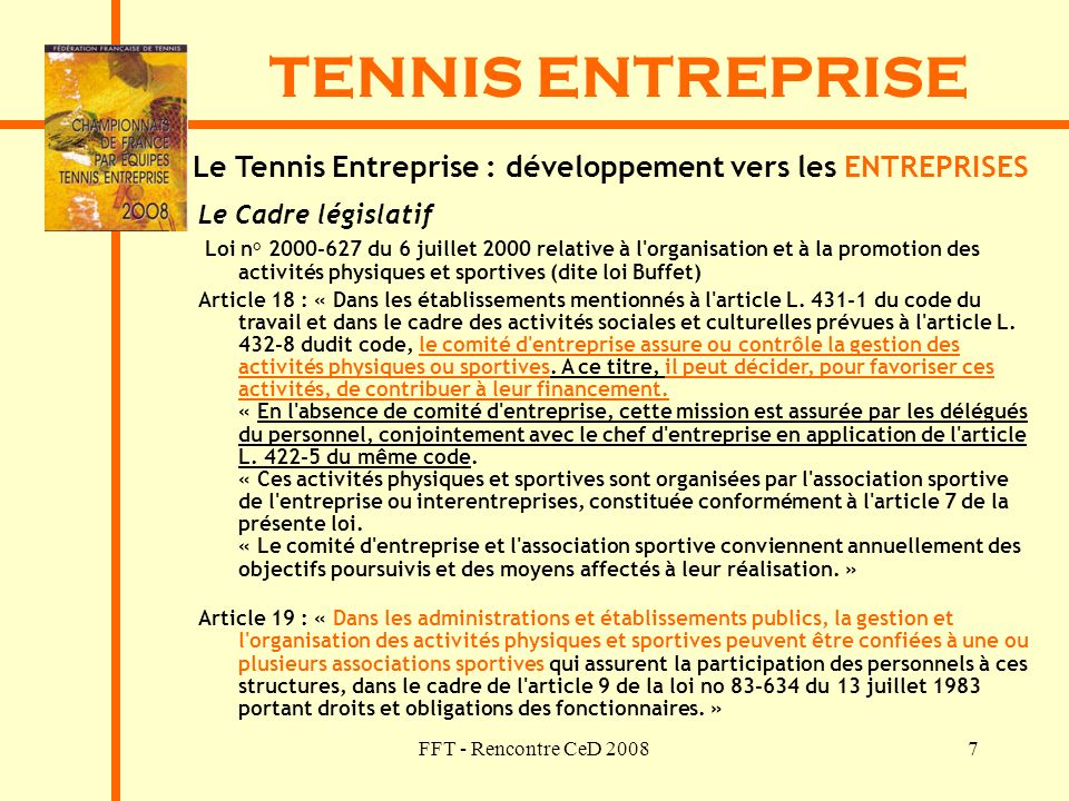 Le Tennis Entreprise : développement vers les ENTREPRISES