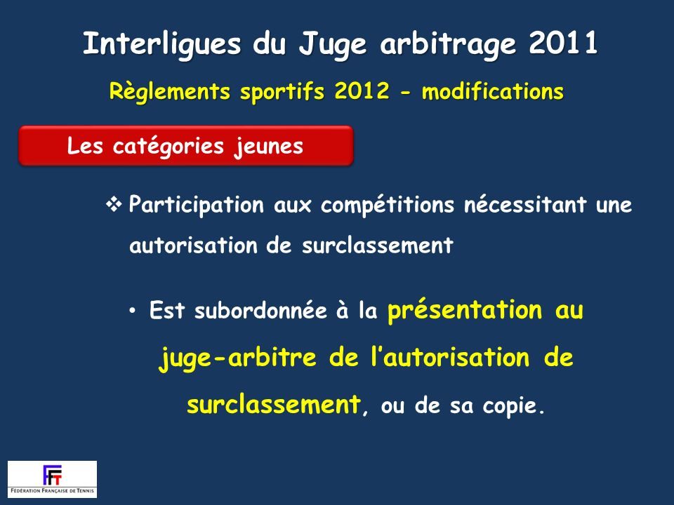 Règlements sportifs modifications