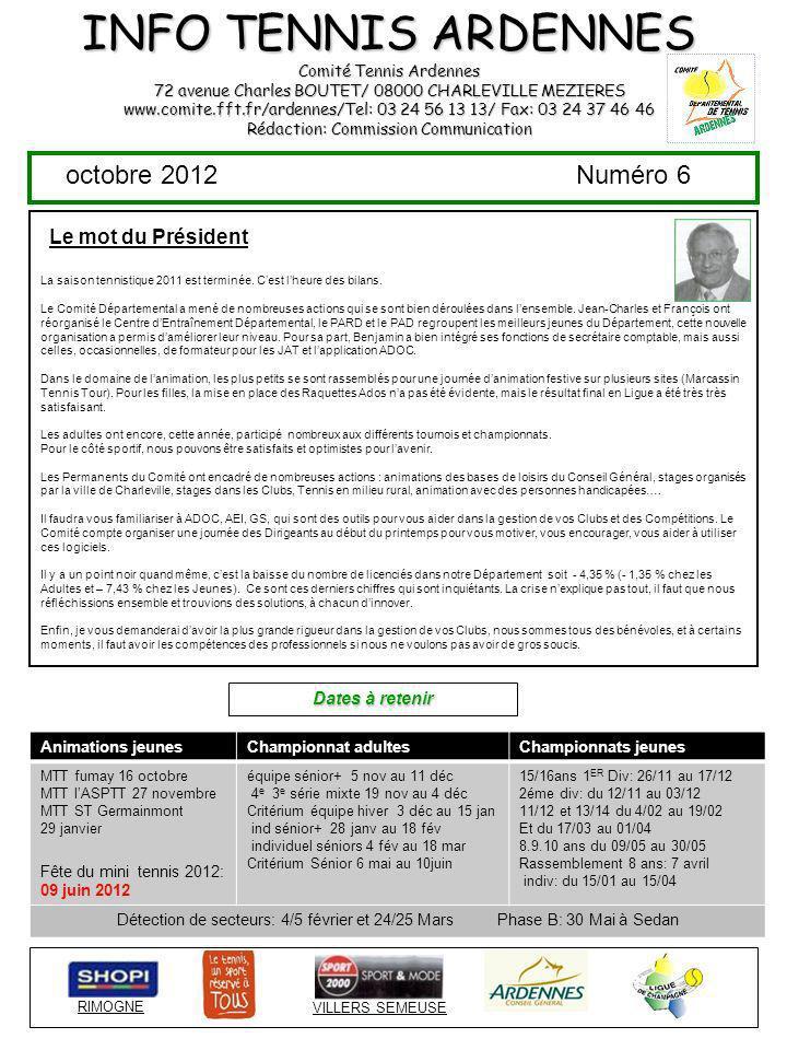INFO TENNIS ARDENNES octobre 2012 Numéro 6 Le mot du Président
