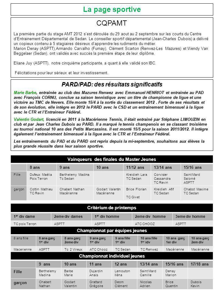La page sportive CQPAMT PARD/PAD: des résultats significatifs