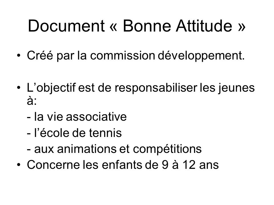 Document « Bonne Attitude »